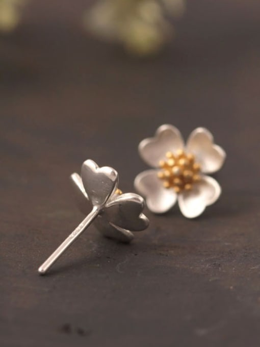 SILVER MI Lovely Flower Color Plated stud Earring 1