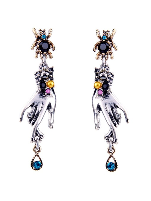 KM Exaggerated Spider-shape Stud drop earring