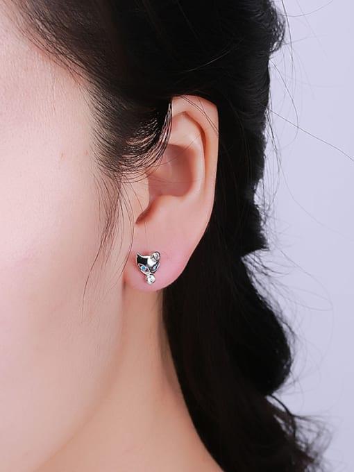 One Silver Women Cute Fox Shaped earring 1