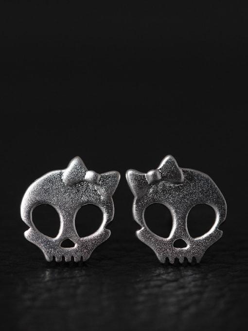 SILVER MI Retro Punk Personality Skull stud Earring 1