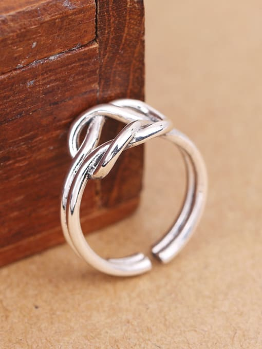 Peng Yuan Personalized Knot Silver Opening Midi Ring 2