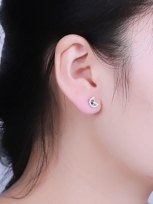 One Silver Women Moon Shaped Zircon Earrings 1