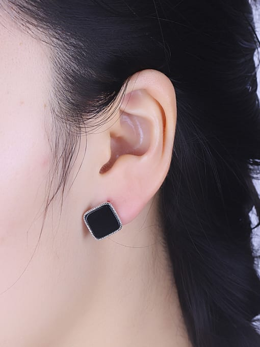 One Silver Black Square Shaped stud Earring 1