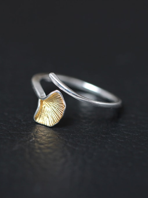 SILVER MI Fashion Ginkgo Leave Opening Statement Ring