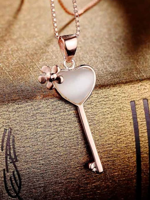 One Silver Elegant Key Shaped Opal Stone Pendant 1