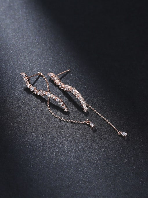 One Silver Rose Gold Plated Flower Zircon threader earring 0
