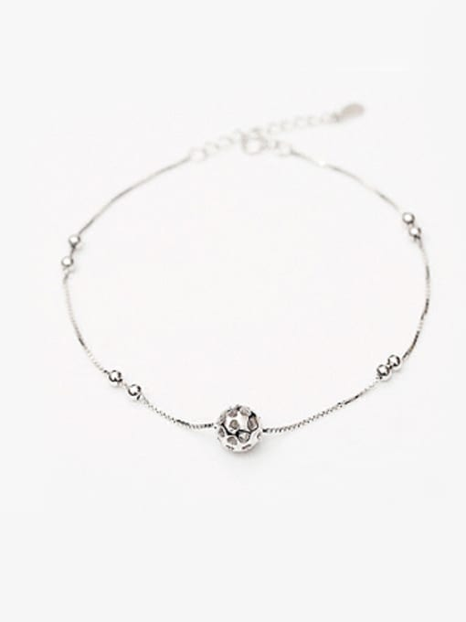 Peng Yuan Simple Hollow Bead Silver Anklet 0