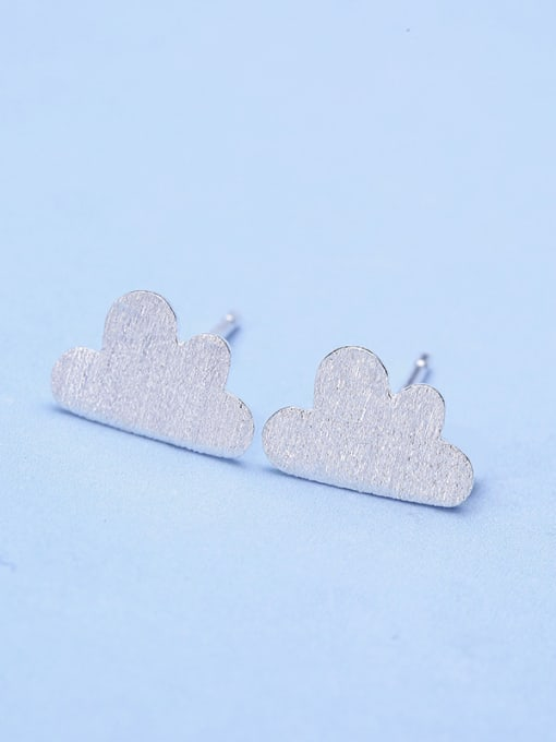 One Silver Women Cloud Shaped Stud Earrings 3