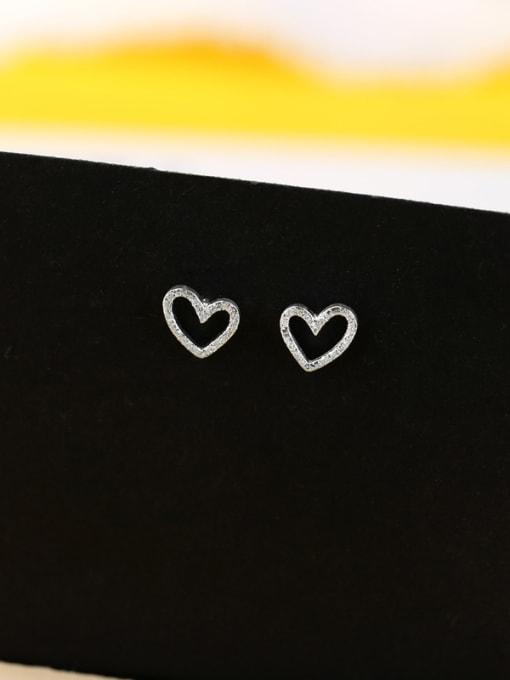 Peng Yuan Hollow Heart-shaped Silver Stud Earrings 0