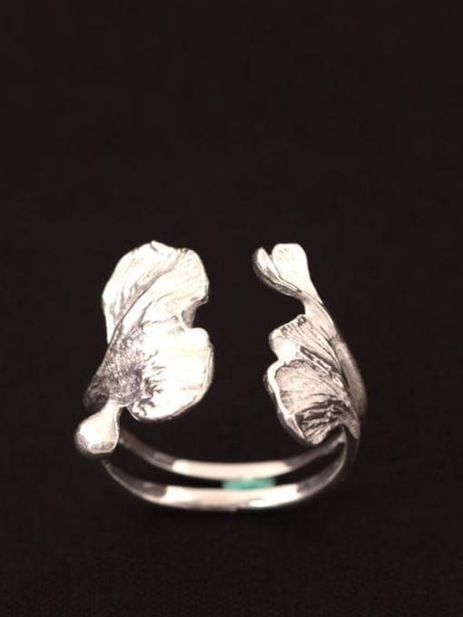 SILVER MI Almond Flowers-shape Opening Ring 0