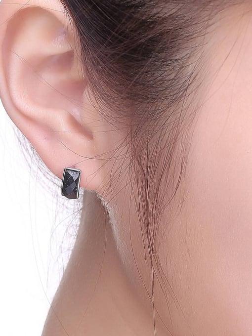 One Silver Geometric Shaped Black Zircon stud Earring 1