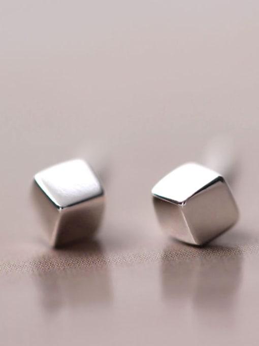SILVER MI S925 Silver Square Stud Earrings