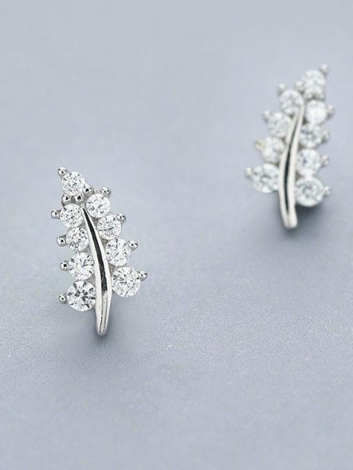 One Silver Women Leaf Shaped Zircon Earrings 2