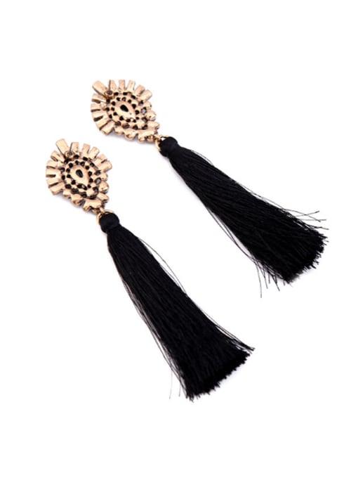 KM Temperament Long Tassel Lady Drop Chandelier earring 1