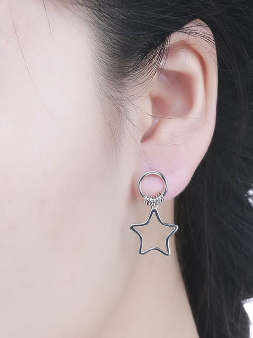 One Silver Women Five-point Star Shaped stud Earring 1