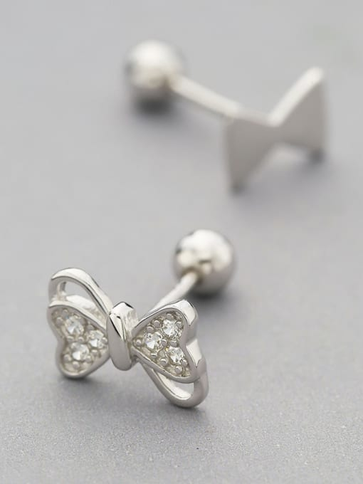 One Silver Personality Asymmetric Bowknot Shaped stud Earring 0