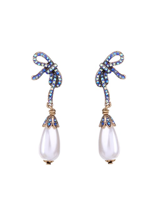 KM Bow Artificial Pearls drop earring