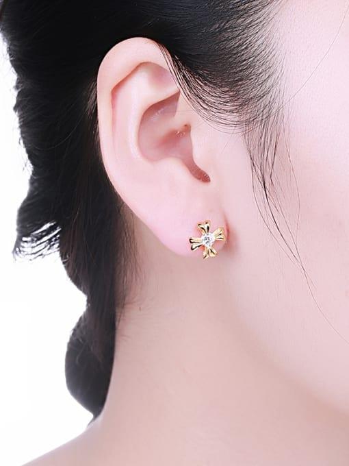 One Silver Gold Plated Flower Zircon Earrings 1