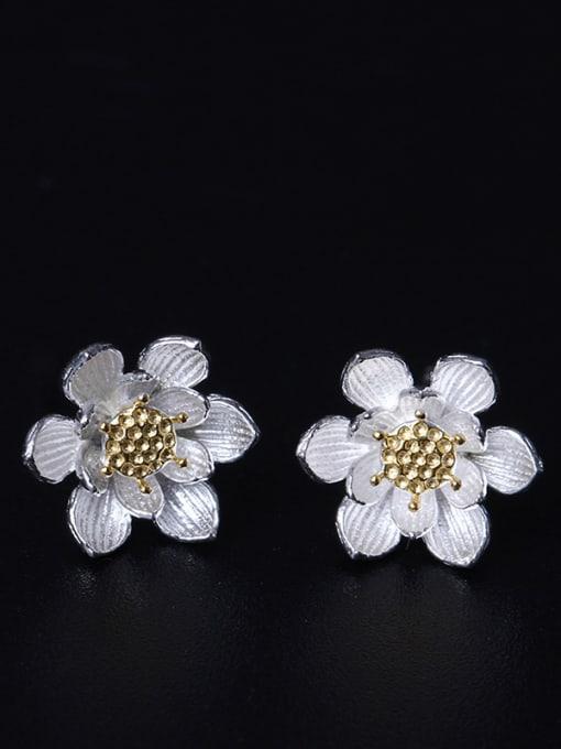 SILVER MI Fashionable Flower Women stud Earring 0