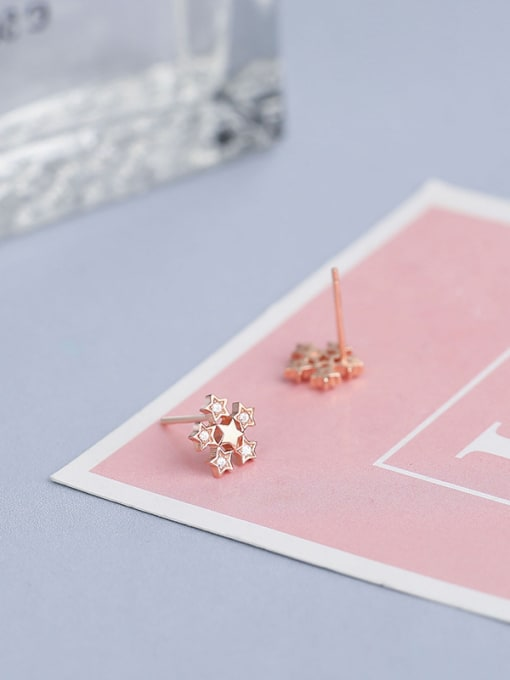 One Silver Rose Gold Plate Flower stud Earring 3