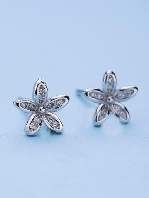One Silver Women Plum Blossom Shaped stud Earring 2