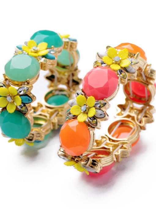 KM Gold Plated Color Stones Bangle