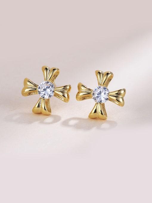 One Silver Gold Plated Flower Zircon Earrings