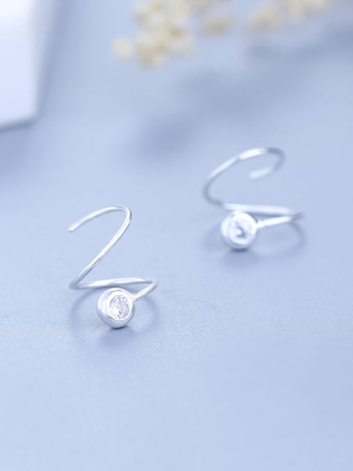 One Silver 925 Silver Spiral Shaped Stud Earrings