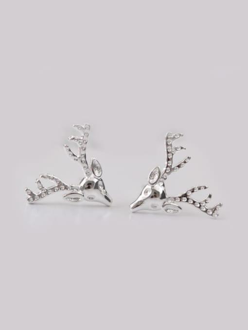 SILVER MI Lovely Deer Head-shape Christmas Stud cuff earring 0