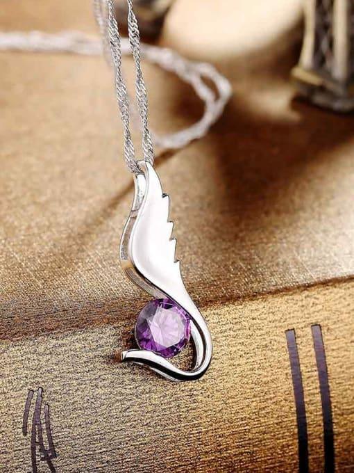 One Silver 925 Silver Purple Zircon Pendant 1