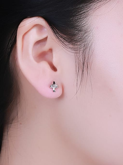 One Silver Women Exquisite Mushroom Shaped stud Earring 1