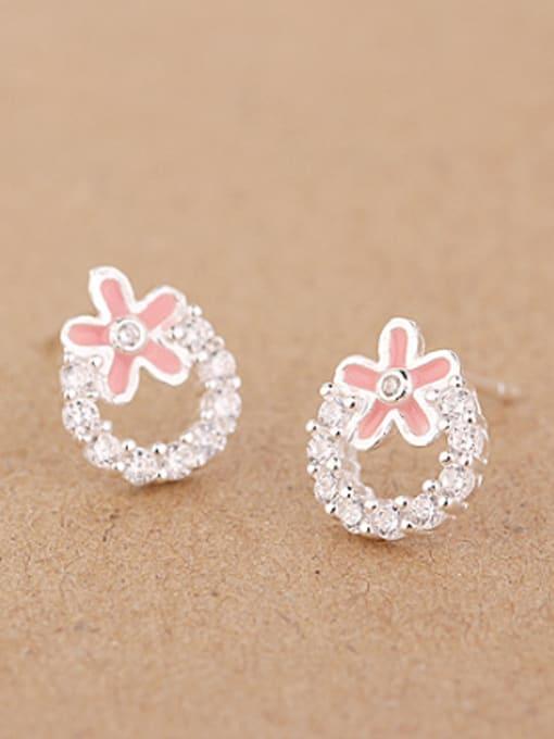 Pink Fashion Rhinestones Flowery stud Earring
