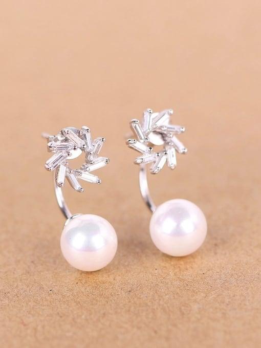 Peng Yuan Freshwater Pearl Zircon stud Earring 0