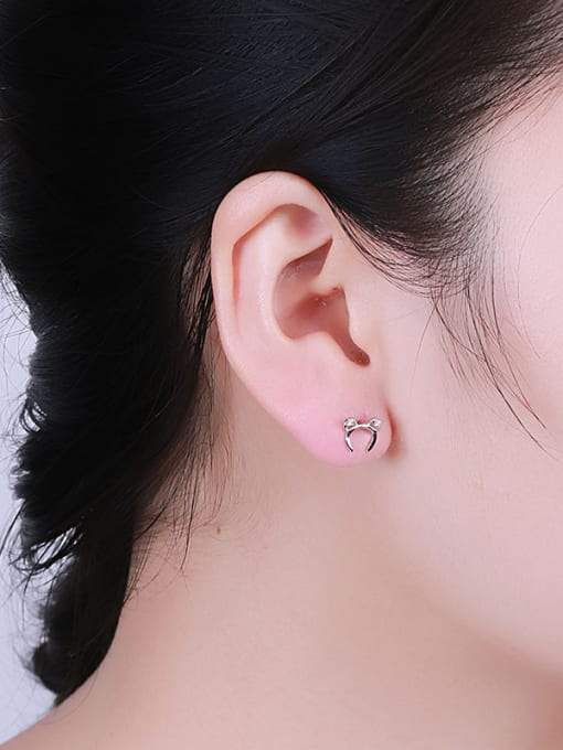 One Silver Women Cute Mickey Mouse earring 1