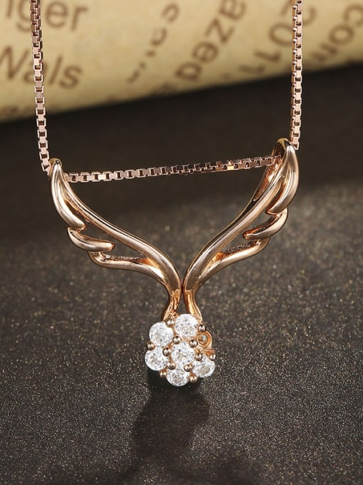 One Silver Rose Gold Plated Wings Zircon Pendant 2
