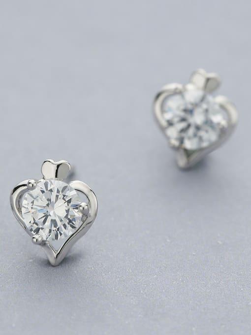 One Silver Elegant Heart Shaped stud Earring 1