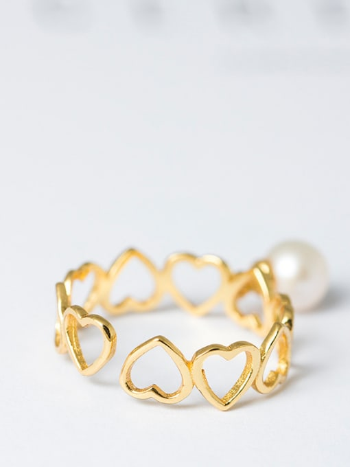 SILVER MI Hollow Heart-shaped Opening Ring 2