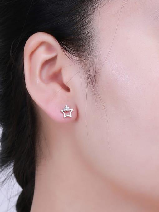 One Silver 925 Silver Charming Star Zircon stud Earring 1