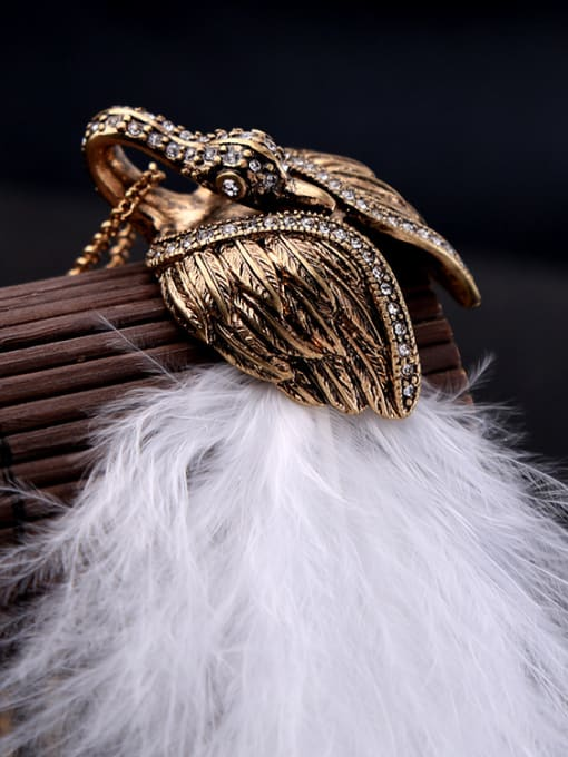 KM Swan Feather Pendant Sweater Necklace 3
