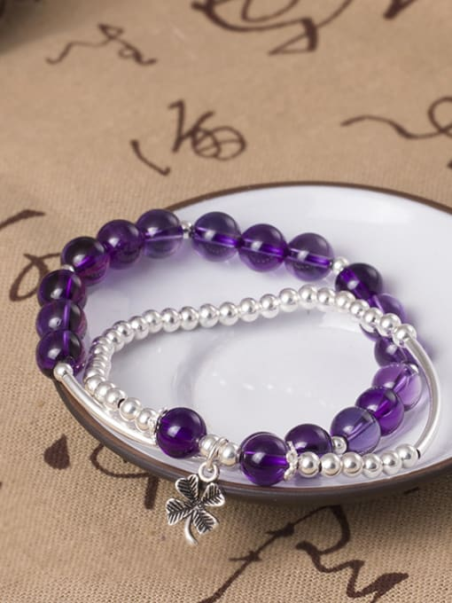 SILVER MI S925 Silver Temperament Amethyst Bracelet