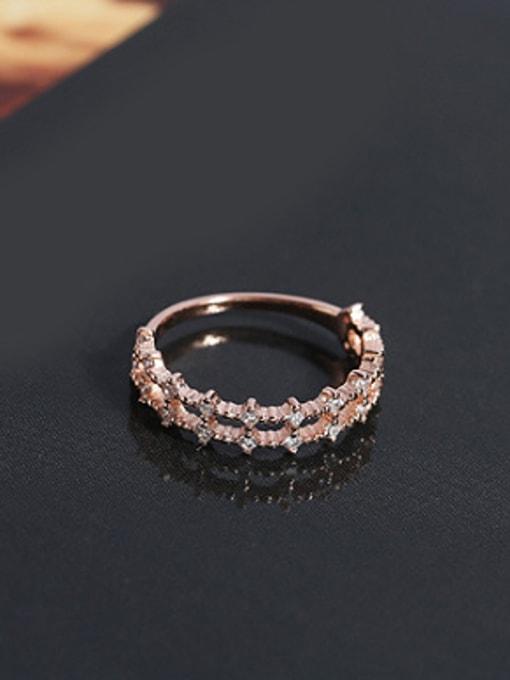 Peng Yuan Fashion Double Row Zircon Silver Ring 0