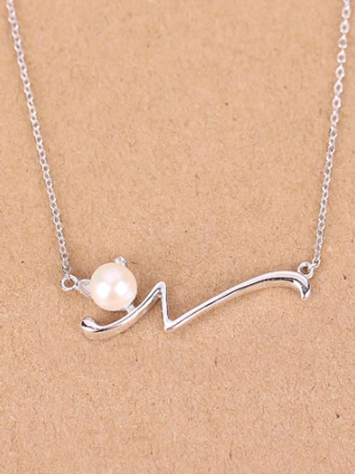 Peng Yuan Simple Freshwater Pearl Silver Necklace 0