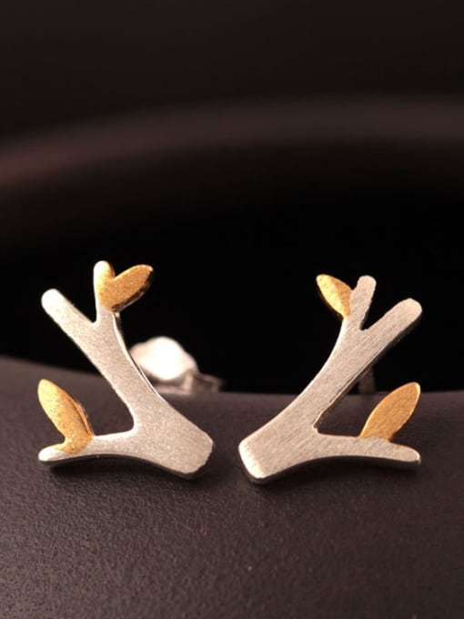SILVER MI Two color Small Tree stud Earring