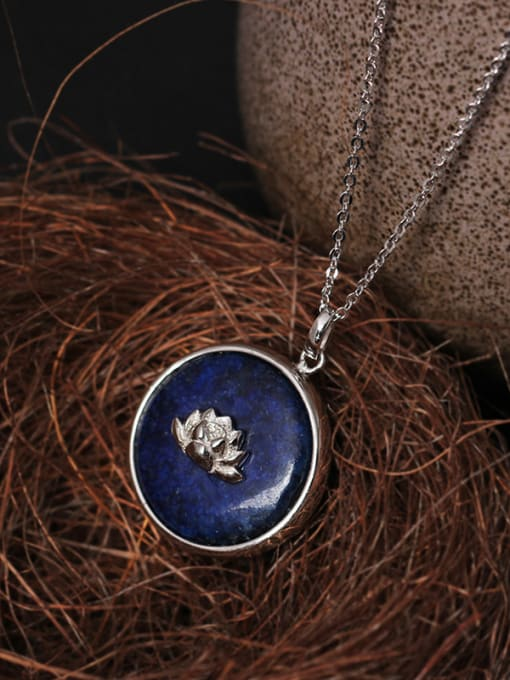SILVER MI Beautiful Handmade Lotus Pendant Necklace 0