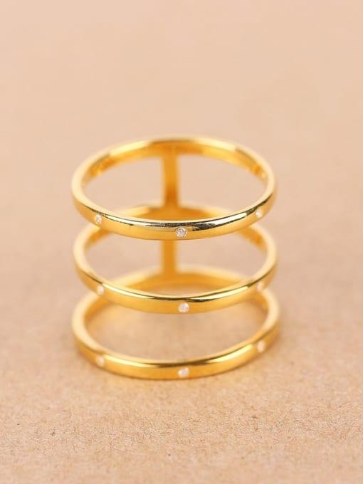 Peng Yuan Fashion Three-band Zircon Ring 0