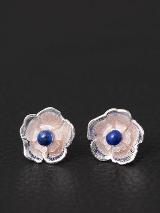 SILVER MI Small Lovely Flower Shape stud Earring 0