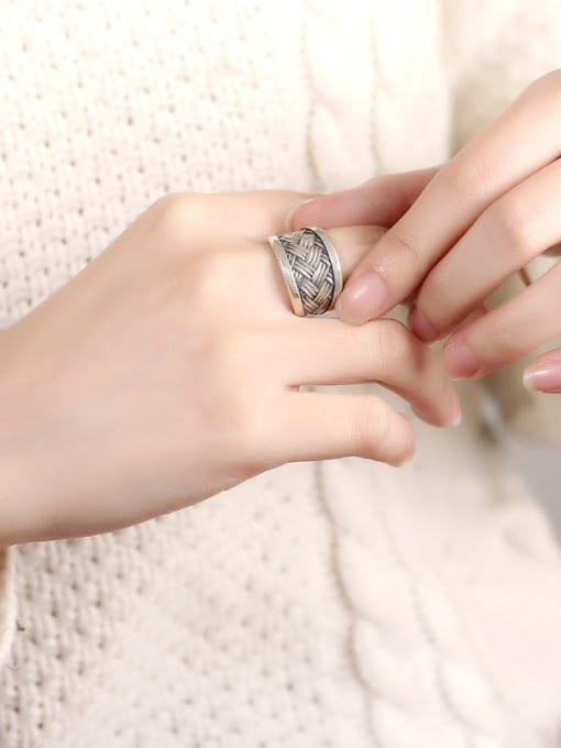 Peng Yuan Punk Woven Silver Handmade Ring 1