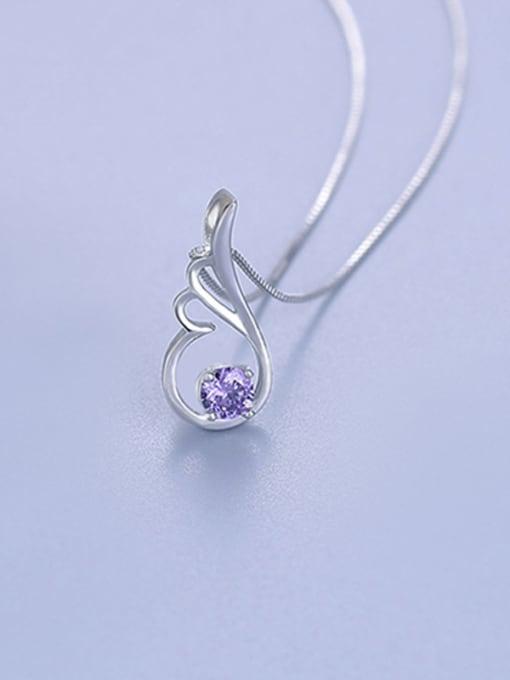 Purple Fashion Wing Shaped Zircon Pendant