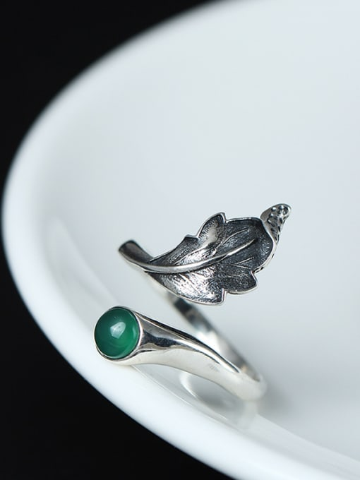 SILVER MI Classical Feather-shape Opening Statement Ring 1
