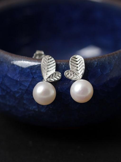 SILVER MI Freshwater Pearls S925 Silver Stud Earrings 0